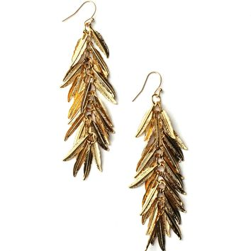 Jennifer Tuton Gold Shimmer Feather Earrings