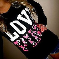 DCCK8H2 Victoria's Secret PINK Women's Fashion Letter Print Round neck Long-sleeves Pullover Tops Sweater