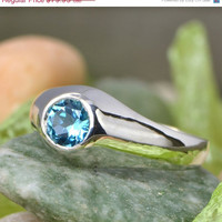 Christmas In July Mens Ring - Blue Topaz Jewelry - Sterling Silver Gentlemen's Ring - Round Topaz - Round Bezel Set Ring - Blue Gemstone Rin