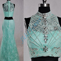 Unique Mint Green Two Piece Lace Prom Dresses,High Neck Beaded Sequined Prom Dresses,Two Piece Evening Dresses,Bridesmaid Dresses,Homecoming