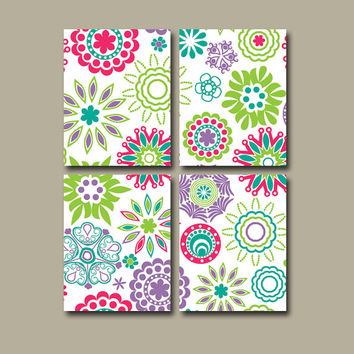 Girl Flower Wall Art Canvas Pink Purple Turquoise Green Mandala Bedroom Nursery Decor Custom Colors Set of 4 Prints Bedding Comforter