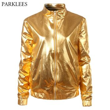 Gold Metallic Coated Women Jacket 2018 Brand New Stand Collar Zipper Front Bomber Jacket Women Shiny Nightclub Jackets and Coats