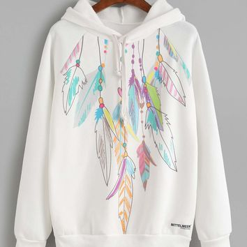 Bluebird Feather Print Tribal Hoodie
