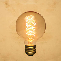 G95 Edison-Style Light Bulb Globe Spiral, Vintage Antique, Incandescent Filament (Standard, 40W) Tungsten Decorative Old-fashioned Nostalgic Hand Woven Thread