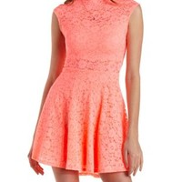 Neon Coral Scalloped Lace Boat Neck Skater Dress by Charlotte Russe