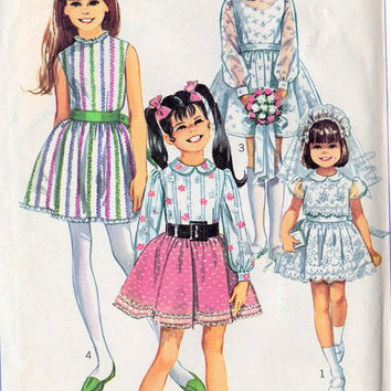 1960s Girls Summer Party Dress Vintage Sewing Pattern, Pageant Dress, Flower Girl Dress, First Communion Dress Simplicity 8171 Size 8