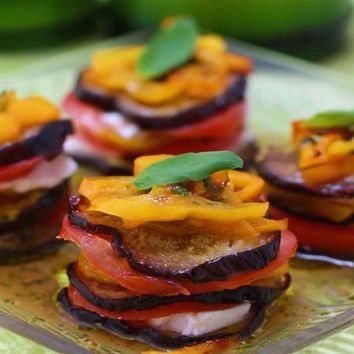 Recipes - Roasted Aubergine Stack with a Basil Dressing