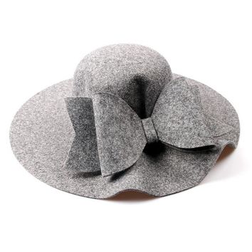 Wide Brim Wool Felt Hat With Large Bow (5 color options)