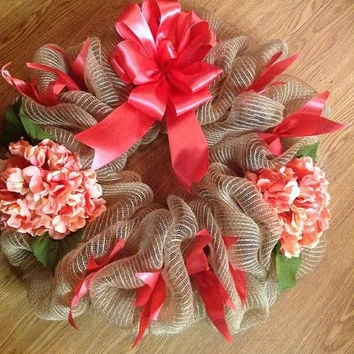 SALE20%OFF Peach HYDRANGEA Deco Wreath