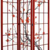 7 ft. Tall Cherry Blossom Shoji Screen - OrientalFurniture.com