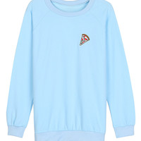 Light Blue Embroidered Pizza Printed Sweatshirt