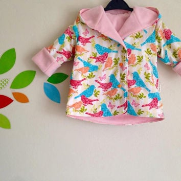 Girls Reversible Jacket, reversible coat, girls jacket, baby girls coat, baby jacket, fleece jacket, hooded jacket, birds, summer jacket