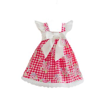 Red Floral Gingham Dress RTS