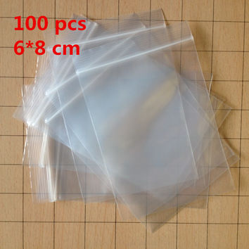 100 pcs LOT Small 6 X 8 cm Ziplock zip lock poly bags clear plastic bags for food storage bags thick transparent bag