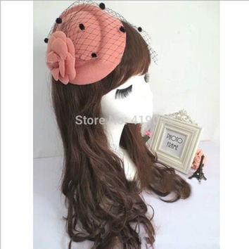 Lady &Girls Rose Flower Hat Lace Fascinator Hair Clip Fashion Gift Lady Net Pillbox Hat Hair Clip Accessory Flower Cap