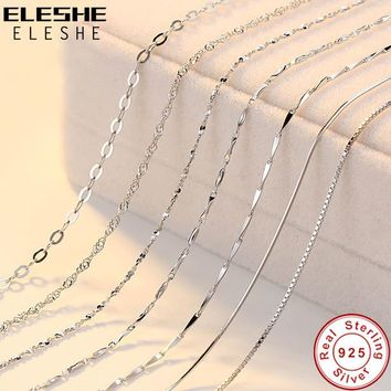 ELESHE Real Pure 925 Sterling Silver Chain Necklace Women Girls Ladies Box Snake Rope Cross Chain Necklace Jewelry