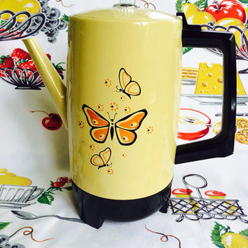 1970s Westbend Butterfly Percolator Yellow with Orange Butterflies Vintage Coffee Maker