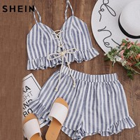 SHEIN Two Piece Set Summer Crop Tops Blue Striped Lace Up Smocked Cami Top and Ruffle Shorts Co-Ord Women Two Piece Outfits