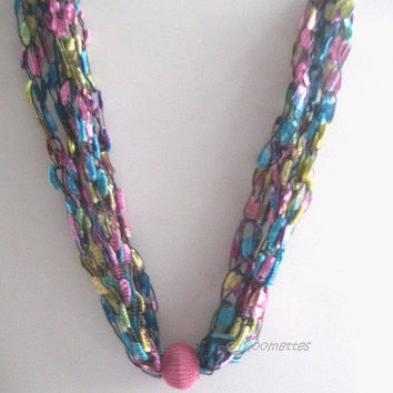 ON SALE Bohemian Long Necklace Crochet Necklace Trellis Ribbon Ladder Yarn Necklace Beaded Colorful Summer Crochet Jewelry