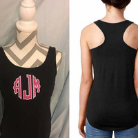 monogrammed tank racerback next level scallop circle appliqué monogrammed tank