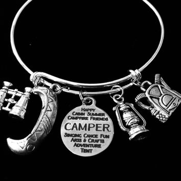 I Love Camping Canoeing Jewelry Adjustable Bracelet Expandable Silver Charm Bangle Camp Travel Binoculars Canoe Backpack Lantern One Size Fits All Gift Great Outdoors Person