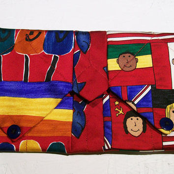 Upcycled Tie Purse Children of the World