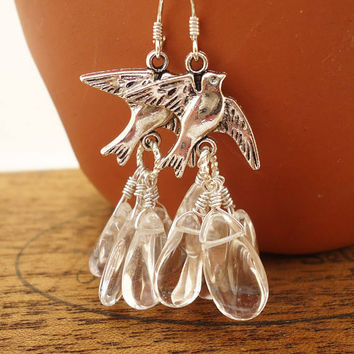 Clear Quartz Tear Drops Earrings, Cluster Earrings, Quartz Dangle Earrings, Birds Charm Earrings