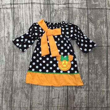 new arrival baby girls Halloween dress children girls polka dot dress with pumpkin dress baby girls boutique Fall/Autumn dress