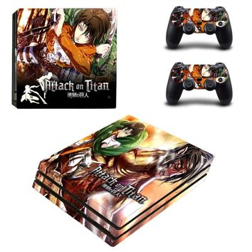 Cool Attack on Titan Ps4 PRO Console Skin  Decal Sticker + 2 Controller Skins Set AT_90_11