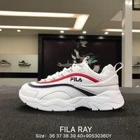 Folder x FILA Ray White Red Black Fashion Sneakers