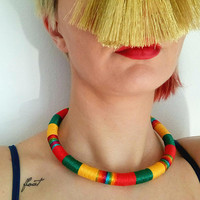 African choker, African necklace, african jewelry, statement necklace, ethnic necklace, tribal necklace, bib, slow fashion, summer necklace