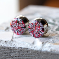 """3/4"""" Plugs, Polymer Clay Ear Plugs, Unique Gauges, Fashion Plugs, Double Flare, Stretched Ears - size 3/4"""" (19mm)"""