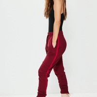 Missguided - Red Binding Striped Tracksuit Joggers