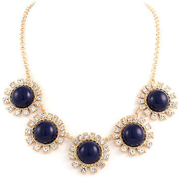 Statement Necklace, Sun Burst Statement Necklace in Navy