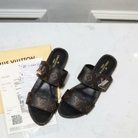 LV Louis Vuitton Flat Sandals Slippers Coffee Casual Women Comfortable Shoes