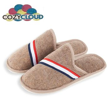 COZY CLOUD New Arrival Men Home Slippers Shoes Solid Winter Woolen Wrap Toe Footwear England Style Home Shoes For Men COZY-84