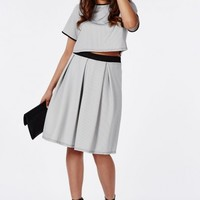 Missguided - Plus Size Small Check Print Midi Skirt