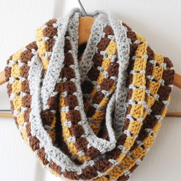 Crochet Infinity Scarf Fall Fashion Trend Cowl Accessory Style Mosaic Brown Gray Yellow
