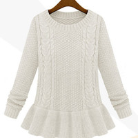 Long Sleeve Peplum Knitted Pullover