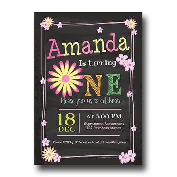 ONE Birthday Invitation Flower girl first birthday invitation Party invitation invite Fun Happy party Invitation Card Design - card 121