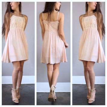 A Sunny Fields Lace Dress in Blush