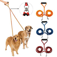 Double Dog Leash for Two Dogs 47 Inch Braided Tangle Free Dual Leash