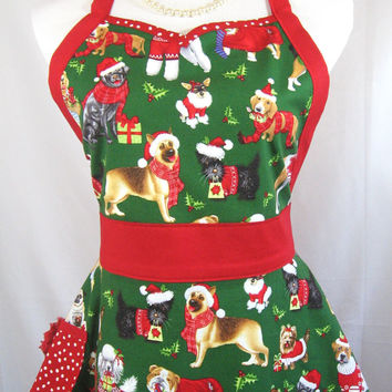 Christmas Puppy Dog Sweetheart Apron, Red White Polka Dots, Red Flower, Holiday Entertaining, Dog Lover, Handmade Cotton Fabric