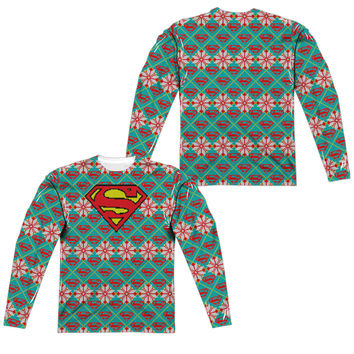 Superman Shield Ugly Holiday Sweater Mens Long Sleeve T-Shirt