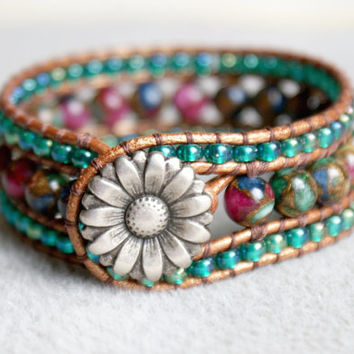 Mosaic Agate Boho leather wrap bracelet, leather cuff, Chan Luu Style, blue, green, cherry, red, bronze, silver flower