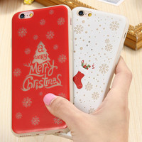 For iPhone 6 6s For iPhone 6 6s Plus Case Art Print Pattern Christmas Tree Soft TPU Luminous Night Lights Cover For Iphon 6 s