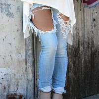 Tower of Denim Distressed High Waisted Light Wash Jeans