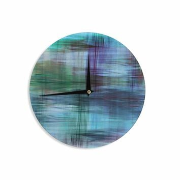 "Ebi Emporium ""COLOR BLUR, TURQUOISE BLUE"" Blue Green Abstract Modern Watercolor Mixed Media Wall Clock"