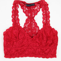 Lovely Lace Racerback Bralette in Red