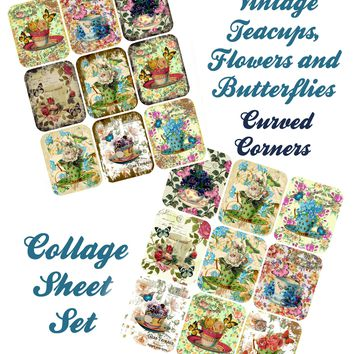 Set of 2 Tea Cups Collage Sheet Rounded Corners,  Printed Collage Sheet,  Weddings, Decoupage, Card Making,  Scrapbook, Altered Art, Victorian Images